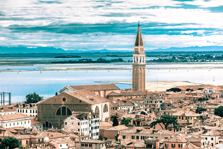 sestiere: View from Campanile di San Marco to Roman Catholic church San Francesco della Vigna at summer morning in the Sestiere of Castello in Venice, Italy. Toning in cool tones