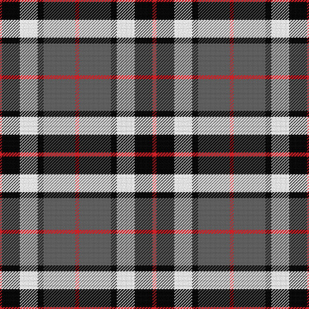 vector seamless pattern Scottish tartan Tompson, black, gray and white Çizim