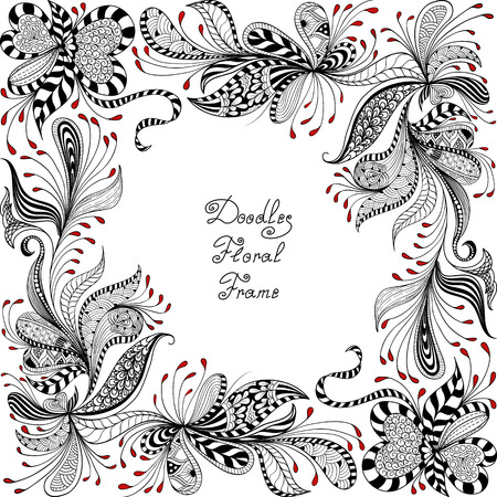 floral swirls: vector red, black and white floral frame pattern of spirals, swirls, doodles