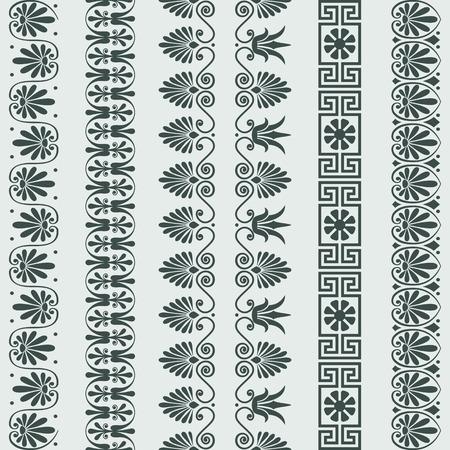 bordes decorativos: Establecer la vendimia tradicional griega ornamento Meandro flores, las fronteras de patrones Vectores