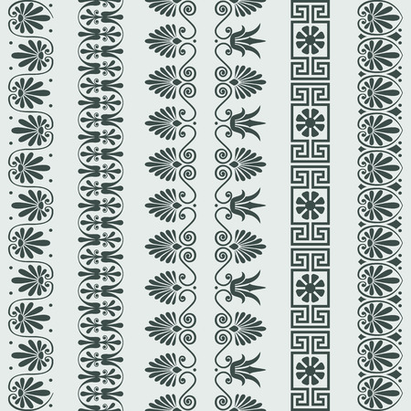 Set Traditional vintage Greek ornament Meander and floral pattern borders Illustration