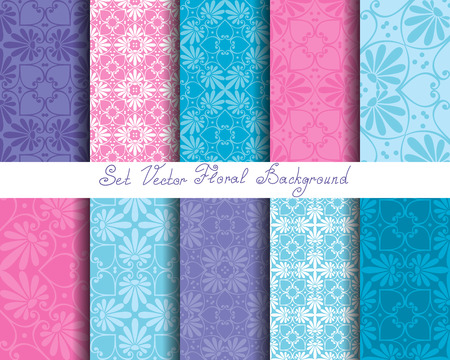Set seamless cute pink and blue Greek floral pattern, endless texture for wallpaper or scrap booking Çizim