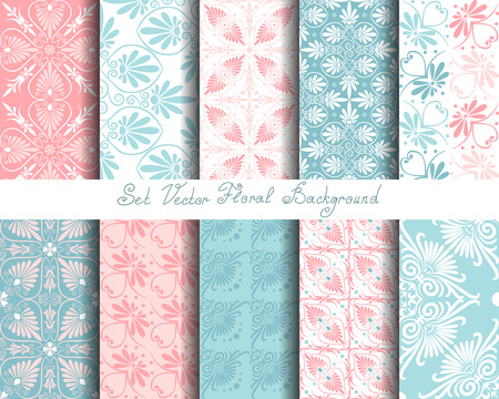 Set seamless cute pink and blue Greek floral pattern, endless texture for wallpaper or scrap booking  イラスト・ベクター素材