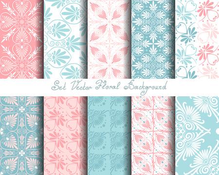 Set nahtlose niedliche rosa und blaue griechische Blumenmuster, endlosen Textur für den Hintergrund oder Schrott Buchung Standard-Bild - 43333783