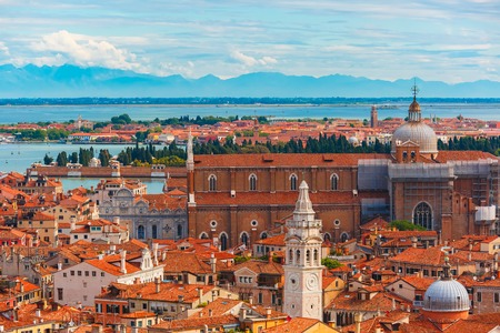 italy landscape: View from Campanile di San Marco to Venice at summer morning, Italy
