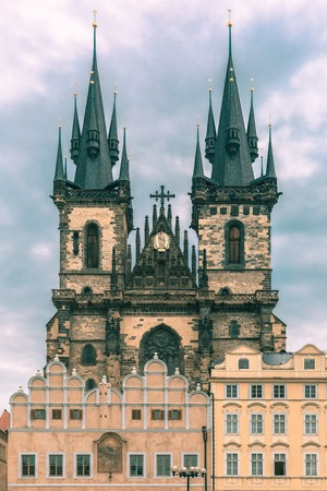 old town square: Church of Our Lady before Tyn at Old Town square in Prague, Czech Republic. Toning in cool tones