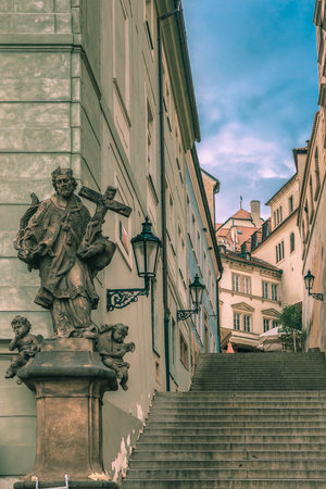 footway: Stairs to the Prague Castle in the Mala Strana, Prague, Czech Republic. Toning in cool tones