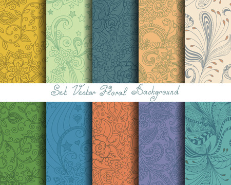 leaf line: Set seamless cute pastel floral pattern, endless texture for wallpaper or scrap booking