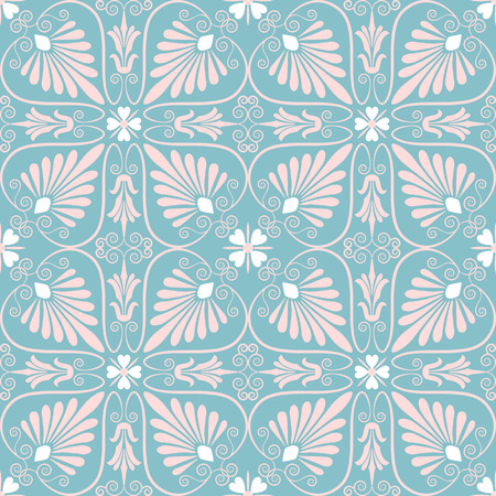 pink floral: Set seamless cute pink and blue Greek floral pattern, endless texture for wallpaper or scrap booking Illustration