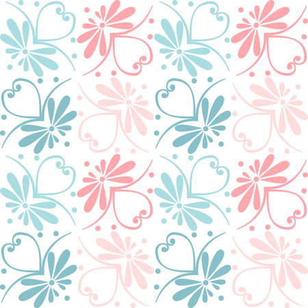 blue stripes: Set seamless cute pink and blue Greek floral pattern, endless texture for wallpaper or scrap booking Illustration