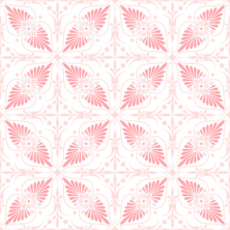 wallpaper floral: Set seamless cute pink and blue Greek floral pattern, endless texture for wallpaper or scrap booking Illustration