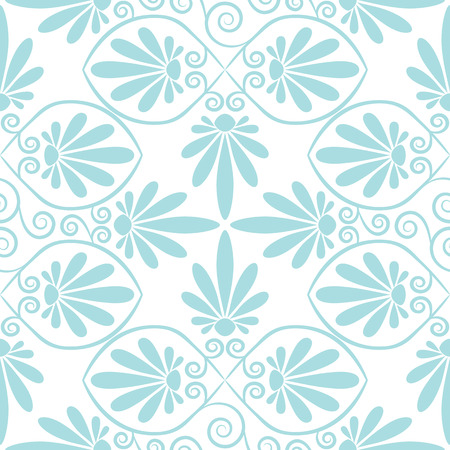 cute wallpaper: Set seamless cute pink and blue Greek floral pattern, endless texture for wallpaper or scrap booking Illustration