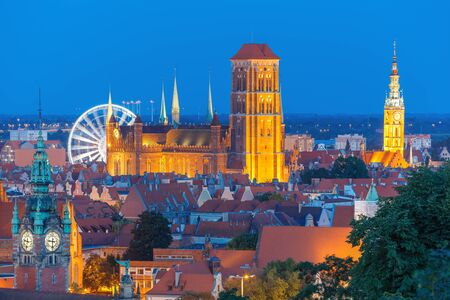 gdansk: Aerial view of the Saint Mary Church and City Hall at night in Gdansk, Poland Stock Photo