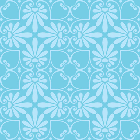 scrap booking: Seamless cute blue Greek floral pattern, endless texture for wallpaper or scrap booking