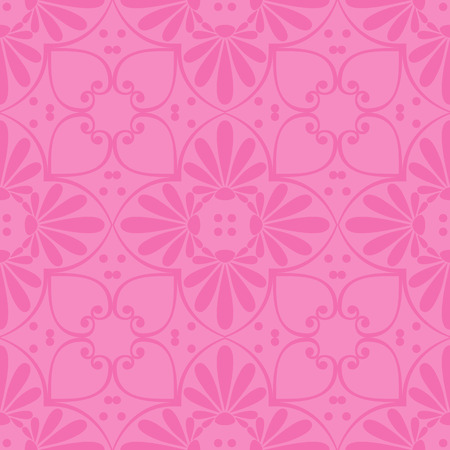 fret: Seamless cute pink Greek floral pattern, endless texture for wallpaper or scrap booking