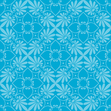 scrap: Seamless cute blue Greek floral pattern, endless texture for wallpaper or scrap booking