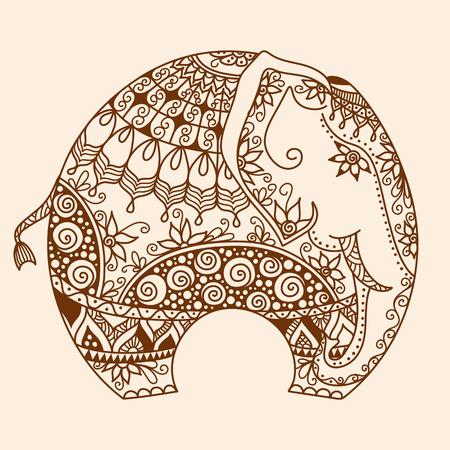 talismán: dibujado a mano vector del doodle de la alheña Mehndi tatuaje con una decoración del elefante indio Vectores