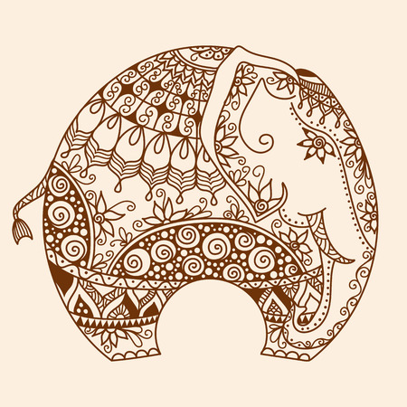 vector hand-drawn Henna mehndi tattoo doodle with  decorated Indian Elephant