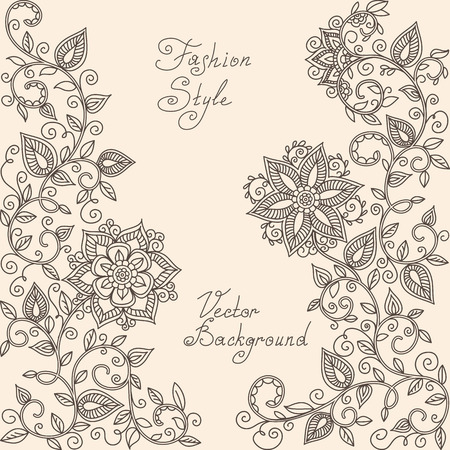 vector rHenna mehndi floral pattern of spirals, swirls, doodles