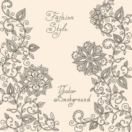 henna tattoo: vector rHenna mehndi floral pattern of spirals, swirls, doodles