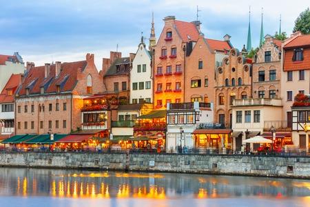 gdansk: Old Town of Gdansk, Dlugie Pobrzeze and Motlawa River at evening, Poland