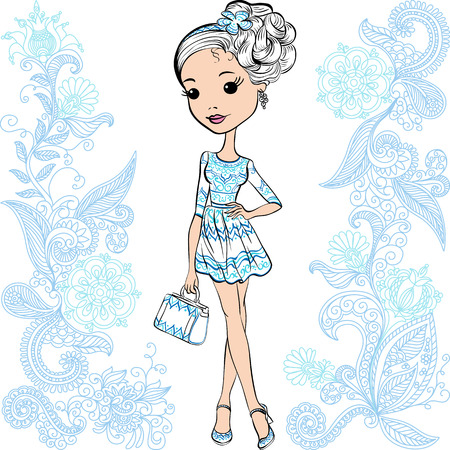 little girls: Cute smiling fashion baby girl in summer white and blue dress with bag Illustration