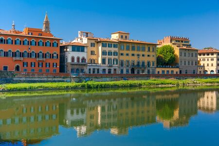 river arno: Quay of the river Arno in Florence, Bell Tower Basilica di Santo Spirito on the background, Tuscany, Italy