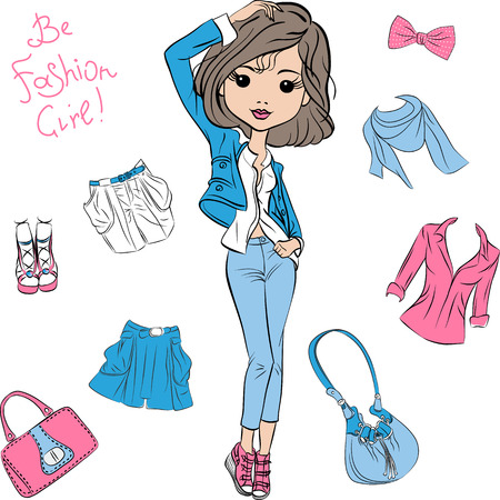 pantsuit: beautiful fashion girl top model in a blue pantsuit Illustration