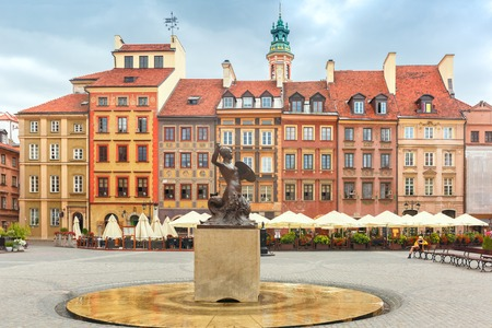 Statue of Syrenka Mermaid of Warsaw symbol of the city of Warsaw, at the Old Town Market Square, Poland
