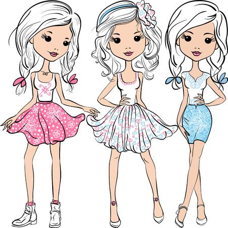 menina: Definir meninas da forma de sorriso bonito no saias e camisas cor de rosa, branco e azul