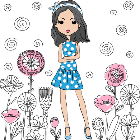 Cute fashion girl in pink and blue summer dress with polka dot pattern in the style of the sixties