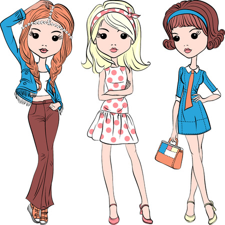 girl illustration: Cute fashion hipster girl in summer dress in the style of the sixties Illustration