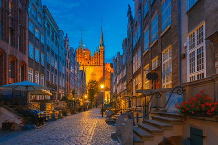 gdansk: Beautiful historic houses on Mariacka, St Mary, street in Gdansk Old Town, Poland
