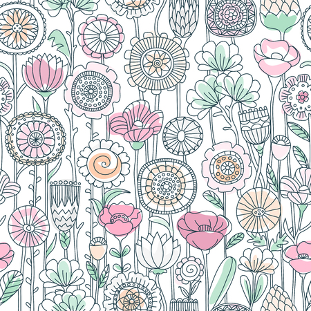 vector seamless pastel color background of wildflowers doodles