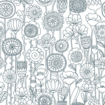 vector seamless black and white background of wildflowers doodles
