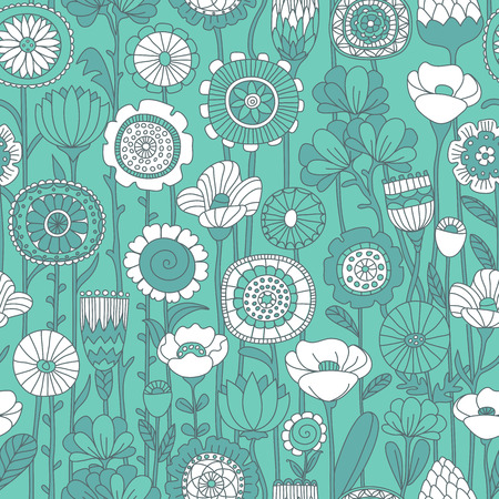 beautiful: vector seamless green and white background of wildflowers doodles