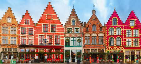 Christmas Grote Markt square in the beautiful medieval city Brugge at morning, Belgium. Stock Photo