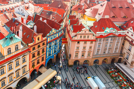 old town square: Aerial view over Old Town Square  in Prague, Czech Republic