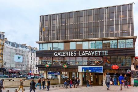 lafayette: Paris, France - December 22, 2015: Galeries Lafayette in Montparnasse quarter