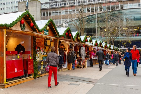 Paris, France - December 22, 2015: Christmas Market in Montparnasse
