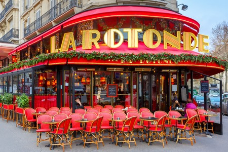 chagall: Paris, France - December 22, 2015: La Rotonde in the Montparnasse Quarter - one of the most legendary and the famous Parisian cafes. There were often Modigliani, Picasso, Chagall, Kandinsky, Apollinaire, Akhmatova and Mayakovsky