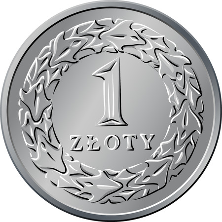 nominal: vector reverse Polish Money one zloty silver coin with Value and 1 wreath of leaves Illustration
