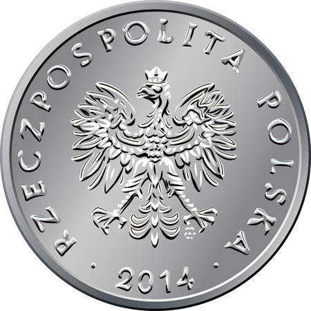 obverse: vector obverse Polish Money one zloty silver coin with eagle in a  crown