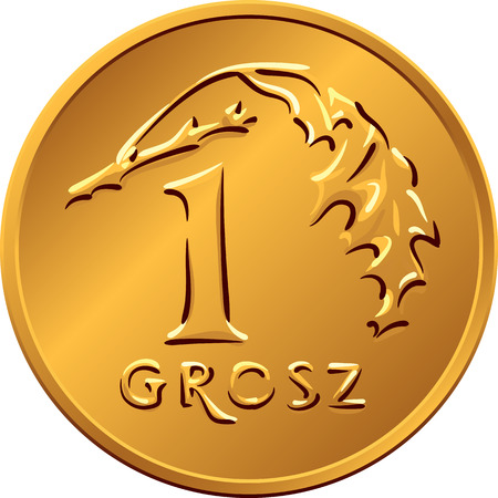 copper coin: vector reverse Polish Money one Grosz copper coin with Value and 1 leaves