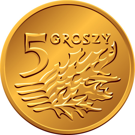copper coin: vector reverse Polish Money five Groszy copper coin with Value and 5 leaves Illustration