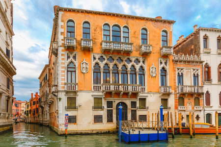 grand canal: Palazzo Cavalli-Franchetti in Venetian Gothic style on the Grand Canal in summer day, Venice, Italy. Stock Photo