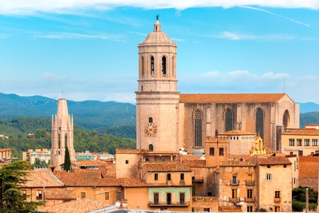 saint mary: Aerial view of Saint Mary Cathedral in Girona, Catalonia, Spain