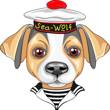 cartoon hat: color sketch of the sailor dog Jack Russell Terrier breed in peakless cap and striped vest