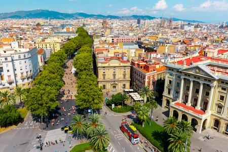 Aerial view of Las Ramblas from the Columbus column in Barcelona, Catalonia, Spain Фото со стока