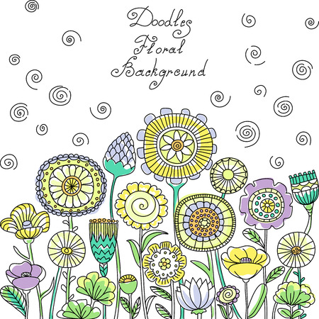floral swirls: vector yellow, blue and green pastel floral pattern of spirals, swirls, doodles